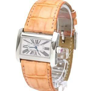Cartier Pink MOP Stainless Steel Tank Divan W6301455 Women's Wristwatch 32 MM