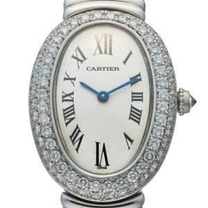 Cartier Silver Diamonds 18K White Gold Baignoire WB5097L2 Women's Wristwatch 23 MM