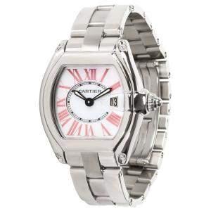Cartier White Stainless Steel Roadster W6206006 Women's Wristwatch 32 MM