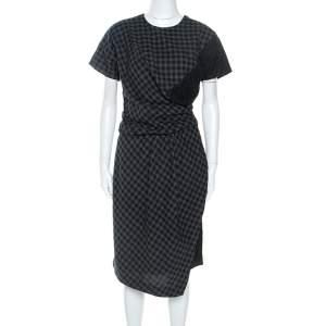 فستان كارفن قطن كاروهات ثنائي اللون بحواف دانتيل M