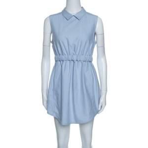 فستان كارفن أزرق شامبري بوسط بطيات بلا أكمام M