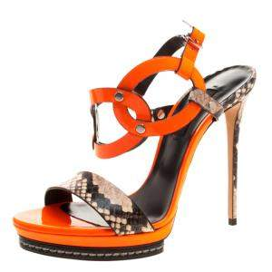 Casadei Orange Patent and Embossed Leather Roccia Platform Ankle Strap Sandals Size 38