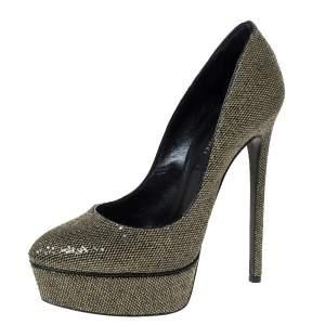 Casadei Black/Gold Glitter Lamé Fabric Daisy Platform Pumps Size 38