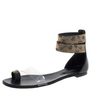 Casadei Two Tone Crystal Embellished Ankle Cuff and PVC Vinil Flat Sandals Size 38