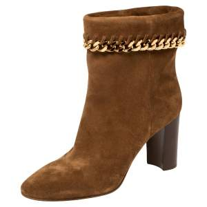 Casadei Brown Suede Renna Chain Trim Ankle Boots Size 40