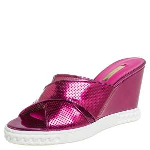 Casadei Pink Perforated Patent Leather Wedge Slide Sandals Size 39