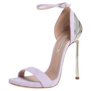 Casadei Lilac Suede Techno Blade Ankle Strap Sandals Size 35