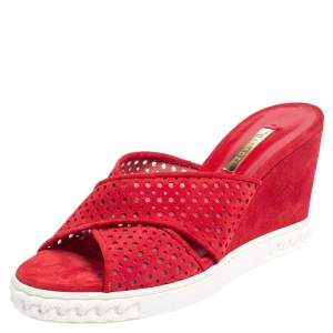 Casadei Red Perforated Suede Wedge Slide Sandals Size 38