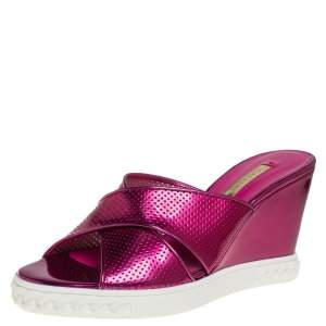 Casadei Pink Perforated Patent Leather Wedge Slide Sandals Size 38