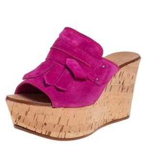 Casadei Magenta Suede Tassel Peep Toe Cork Platform Wedge Slides Size 38