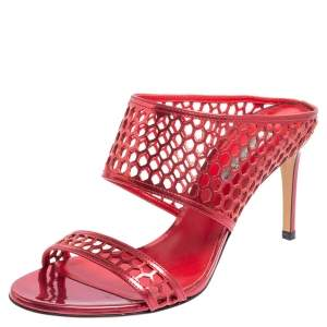 Casadei Metallic Red Patent Leather Candylux Slide Sandals Size 37