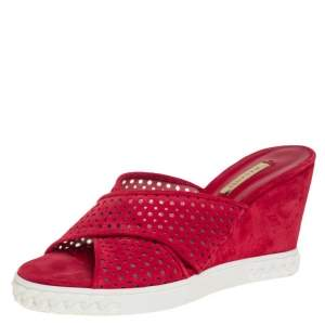 Casadei Red Perforated Suede Wedge Slide Sandals Size 39