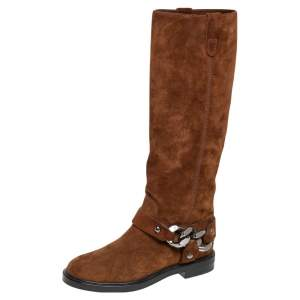 Casadei Brown Suede Mid Calf Boots Size 36