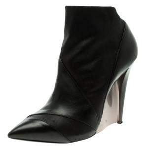 Casadei Black Leather Accent Heel Pointed Toe Ankle Boots Size 39.5