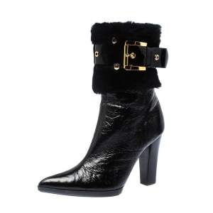 Casadei Black Patent Leather and Fur Buckle Belted Ankle Boots Size 37.5