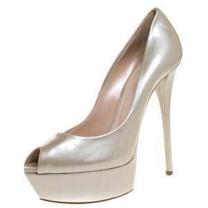 Casadei Beige Patent Leather Peep Toe Platform Pumps Size 40