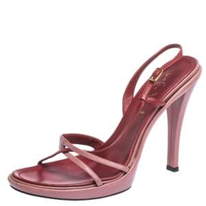 Casadei Pink Leather Cross Strap Slingback Platform Sandals Size 39