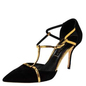 Casadei Black/Gold Suede and Lizard Effect D'Orsay T-Strap Sandals Size 40