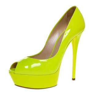 Casadei Lime Green Patent Leather Daisy Peep Toe Platform Pumps Size 39