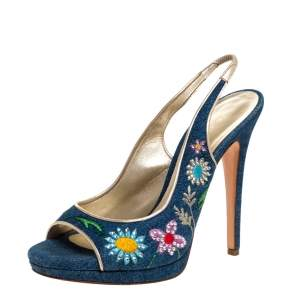 Casadei Blue Denim Flower Embroidered Slingback Open Toe Sandals Size 38