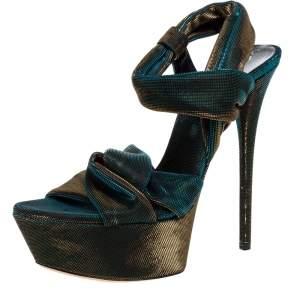 Casadei Multicolor Lamé Fabric Platform Ankle Strap Sandals Size 38
