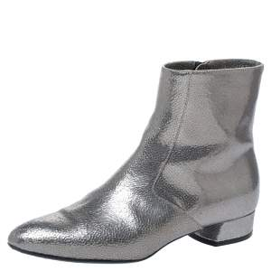 Casadei Metallic Grey Textured Leather Ankle Boots Size 35