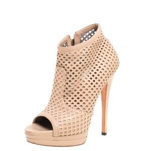 حذاء بوت كاسادي نعل سميك و مقدمة مفتوحة قصات ليزر جل دبيج مقاس 37.5