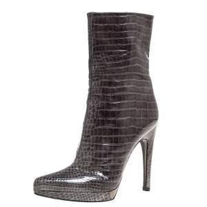 Casadei Green Croc Embossed Patent Leather Platform Mid Calf Booties Size 36