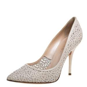 Casadei White Leather Laser Cut Pointed Toe Pumps Size 38.5