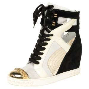 Casadei Multicolor Suede and Leather High Top Wedge Sneakers Size 39