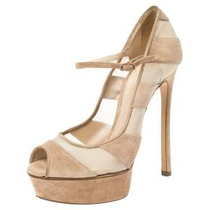 Casadei Beige Suede and Mesh Platform Pumps Size 37.5