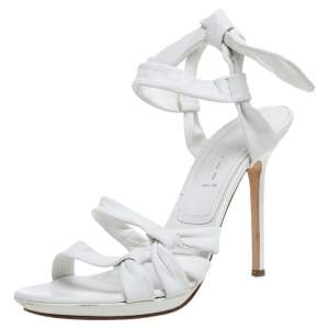 Casadei White Leather Ankle Tie  Open Toe Slingback Sandals Size 39