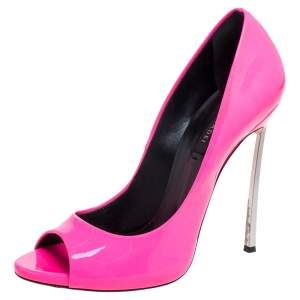 Casadei Neon Pink Patent Leather Peep Toe Pumps Size 40