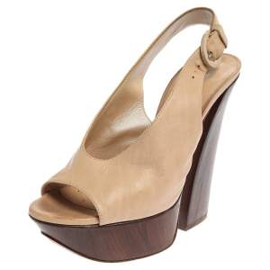 Casadei Beige Leather Platform Peep Toe Slingback Sandals Size 35