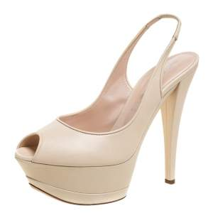 Casadei Cream Leather Platform Slingback Peep Toe Sandals Size 38