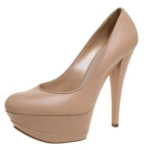 Casadei Beige Leather Platform Pumps Size 38.5