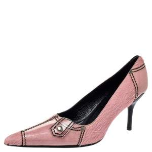Casadei Pink Calfhair and PVC Pointed Toe Pumps Size 40
