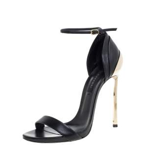 Casadei Black/Gold Leather Metal Heels Ankle Strap Sandals Size 38.5