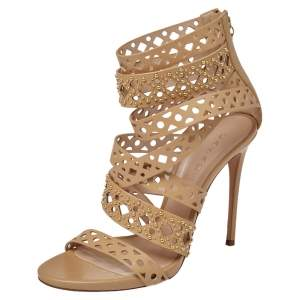 Casadei Beige Leather Studded Strappy Open Toe Zipper Sandals Size 39