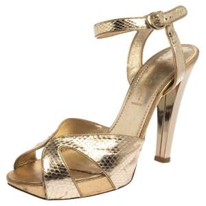 Casadei Metallic Python Embossed Leather Strap Sandals Size 39