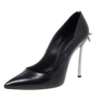 Casadei Black Leather Blade Bow Pumps Size 39
