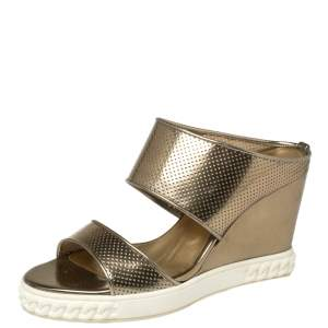 Casadei Perforated Gold Patent Leather Wedge Slide Sandals Size 39
