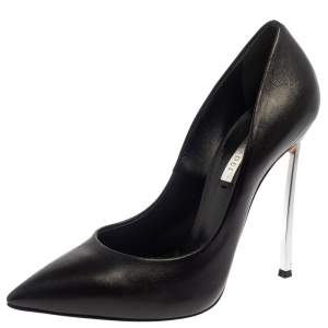 Casadei Black Leather Pointed Toe Pumps Size 38.5