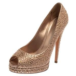 حذاء كعب عالي كاسادي مزخرفة كريستال جلد ذهبي ميتاليك مقدمة مفتوحة مقاس 40