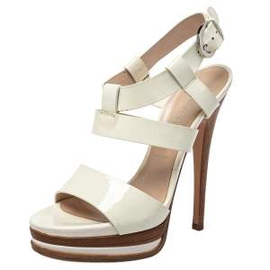 Casadei White Patent Leather Strappy Platform Sandals Size 36