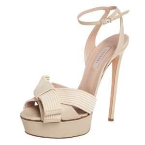 Casadei Cream Leather Flora Aiko Platform Ankle Strap Sandals Size 39