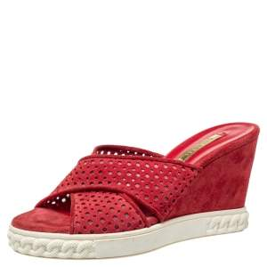 Casadei Red Suede Perforated Wedge Sandals Size 36