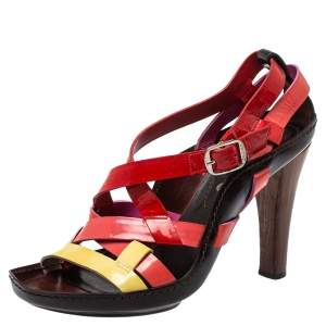 Casadei Multicolor Patent Leather Strappy Ankle Strap Sandals Size 40