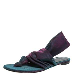 Casadei Two Tone Fabric Knot Flat Thong Sandals Size 38.5