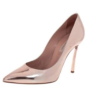 Casadei Rose Gold Leather Blade Pointed Toe Pumps  Size 36